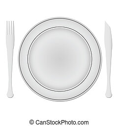 plate and dishes against white background; abstract vector...
