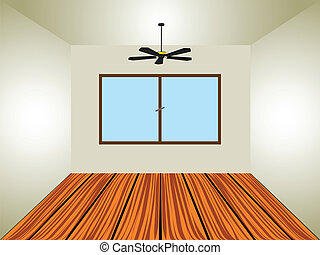 empty room with window and lamp