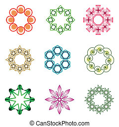 design elements over white background; abstract vector art...