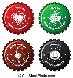 anniversary bottle caps against white background, abstract...