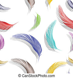 feathers seamless texture, abstract pattern; vector art...