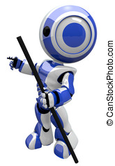 Cute Blue Robot With Hiking Staff - Robot with good sense of...