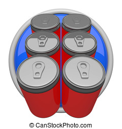 Six Pack of Soda - Six pack of soda, icon form.