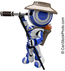 Cute Blue Robot Hiker Explorer - Cute blue robot hiker and...