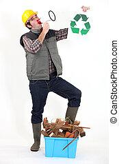 retrato, carpintero, altavoz, reciclaje, logotipo
