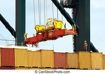 Containers to be shipped - Antwerp port with containers to...