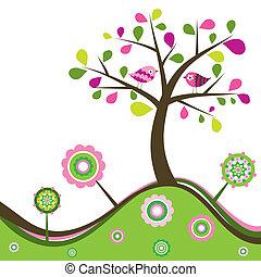 Floral spring background, vector illustration