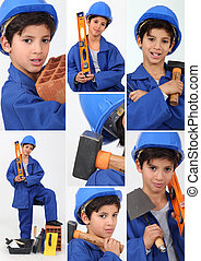 a boy dressed in workman with tools