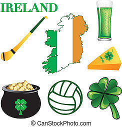 Ireland Icons - Vector Illustration for Ireland Irish Button...