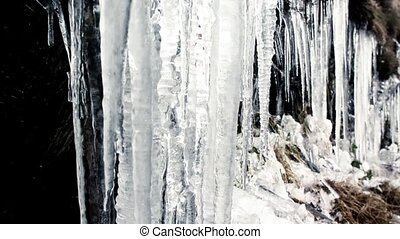 Icicles melting and dripping - Slow pan and tilt of melting...