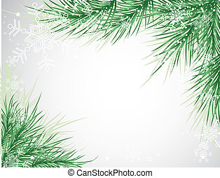 Christmas tree background, vector snowflake