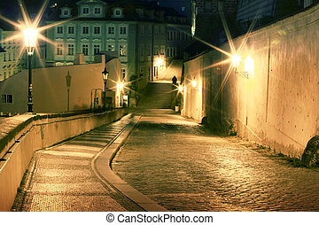 Lesser Town at night, Prague, Czech Republic
