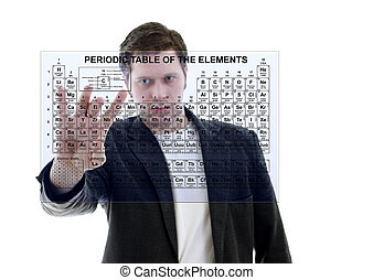 Male with Pereodic Table of Elements on touch screen interface. Isolated on white.