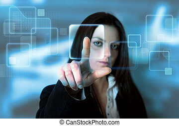 Touchscreen interface - Businessgirl with a virtual...
