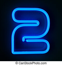 Neon Sign Number Two - Highly detailed neon sign with the...