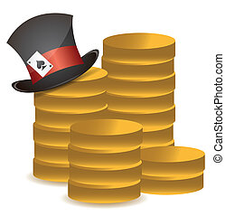 stack of coins and lucky hat