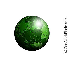 soccerball with european green map over white