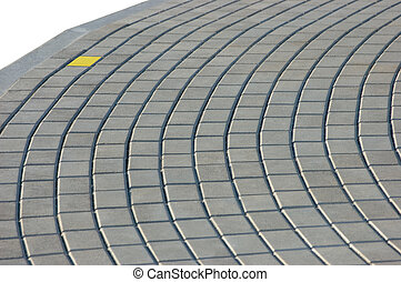 Cobblestone Pavement Texture With Yellow Brick, Isolated