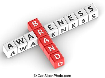 Buzzwords: brand awareness - Red rendered artwork with white...