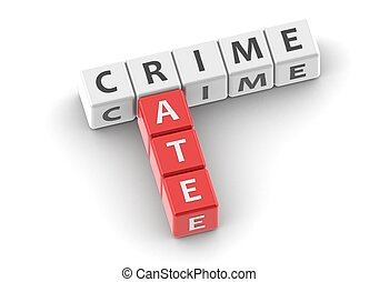 Buzzwords: crime rate - Red rendered artwork with white...
