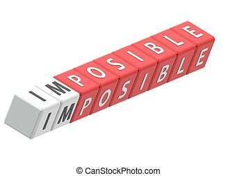 Buzzwords: impossible - Red rendered artwork with white...