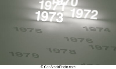 Glowing Numbers Timeline: 70s-90s - Three clips of a simple,...