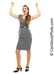 Full length portrait of business woman celebrating victory