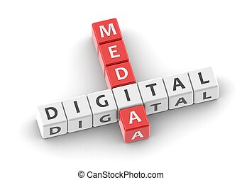 Buzzwords: digital media - Rendered artwork with white...