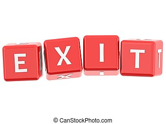 Buzzwords: exit - Rendered artwork with white background