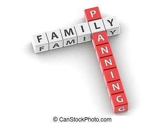 Buzzwords: family planning - Rendered artwork with white...