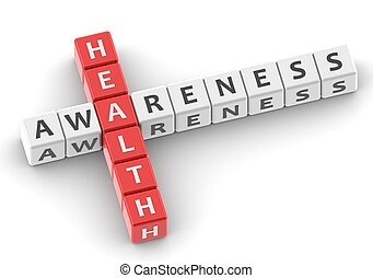 Buzzwords: health awareness - Rendered artwork with white...