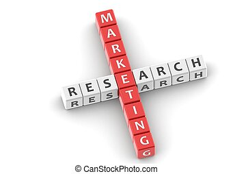 Buzzwords: marketing research - Rendered artwork with white...
