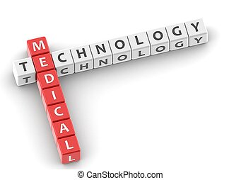 Buzzwords: medical technology - Rendered artwork with white...