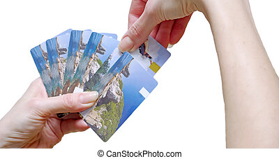 bank card - a woman chooses a bank card from the deck