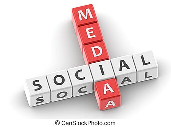 Buzzwords: social media - Rendered artwork with white...