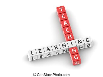 Buzzwords: teaching learning - Rendered artwork with white...