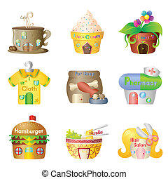 Cartoon shops - A vector illustration of cute cartoon shops