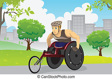 Wheelchair athlete - A vector illustration of an athlete in...