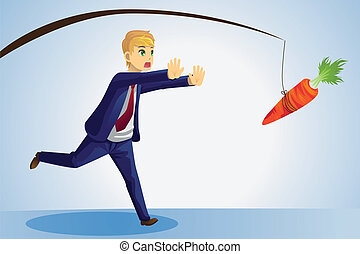 Businessman reaching for carrot - A vector illustration of a...