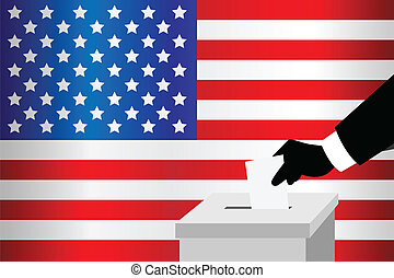 Voting - A vector illustration of a voting man inserting his...