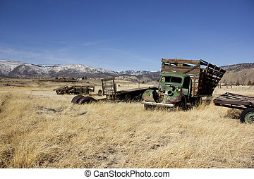 Old farm truck in a field of junk - and old farm truck thats...