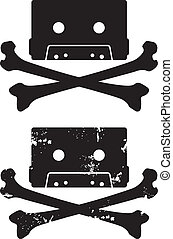 Cassette Skull vector icon - Skull and crossbones symbol...