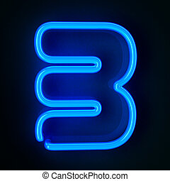 Neon Sign Number Three - Highly detailed neon sign with the...