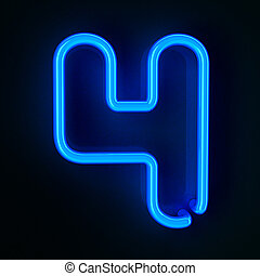 Neon Sign Number Four - Highly detailed neon sign with the...
