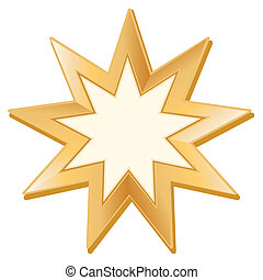 Bahai Symbol - Golden nine pointed star, symbol of Bahai...