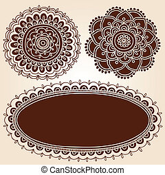 Henna Flower Frames Vector Set