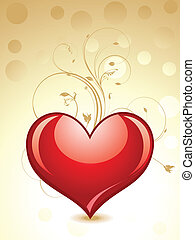 abstract glossy heart with floral vector illustration