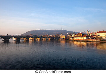 Charles bridge Prague, Czech Republic - Evening view of...