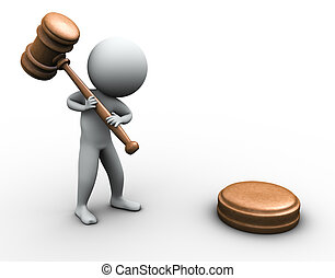 3d man with gavel - 3d render of man with wood gavel