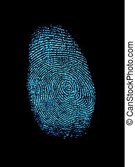 Finger Print - A finger print isolated against a white...
